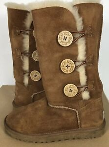 8a95e500088 Details about UGG Womens Bailey Button Triplet Tall Boots Chestnut Brown  Size 5 Suede 1873