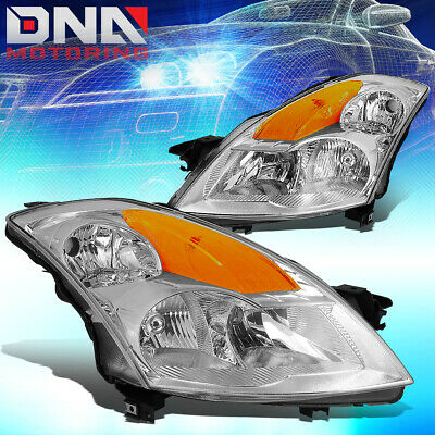 For 2007-2009 Nissan Altima 4-Door Sedan Headlights Replacement Black Housing with Amber Reflector Clear Lens Driver and Passenger Side One-Year Warranty