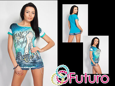 Womens Top JEWELS STYLE Print Boat Neck Short Sleeve T-Shirt Sizes 8-12 FN09