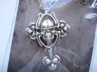 Hot Topic Saint Sailor Silver Tone Skull Cross Necklace