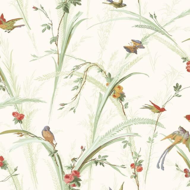 Wallpaper Designer Green Meadowlark Trail Birds Floral Wheat on Eggshell White