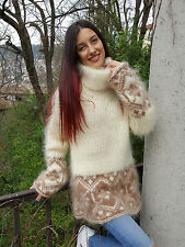 NB Hand Knitted Mohair Sweater Unisex Thick Fuzzy Icelandic MULTI_COLOR Jumper