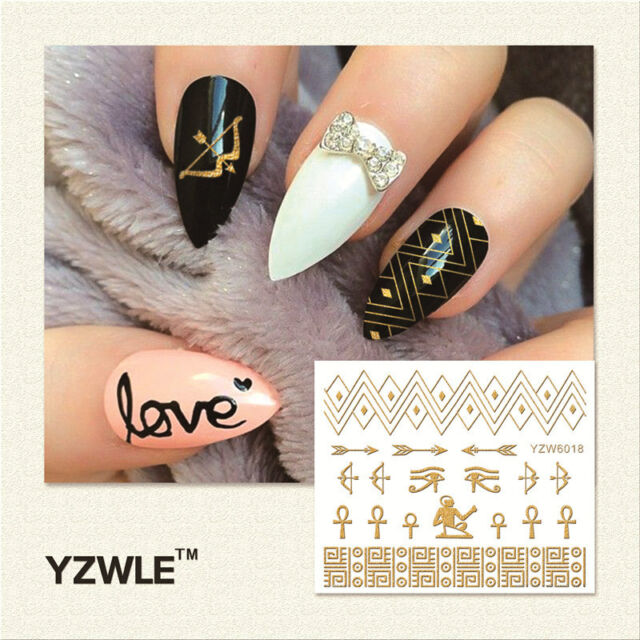 Nail Art Stickers Decals Metallic Gold Lace Tribal Egyptian Gel Polish 6018