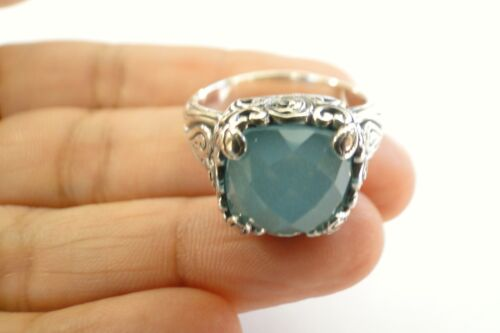 8 Green Chalcedony Solitaire Sterling Silver Ring 6 9 7