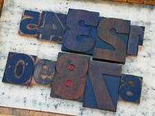 0 9 Mixed Numbers Letterpress Wooden Printing Blocks Type Printer Vintage Rare