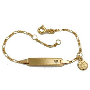 Details Zu Baby Taufe Echt Gold 333 Schutz Engel Herz Ident Armband Mit Gravur Name Datum