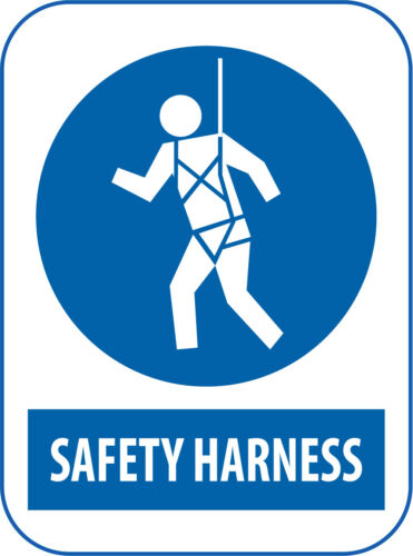 Safety Harness Mandatory Work Place Warning Signs Safety Blue A6 A5 A4 A3 Custom