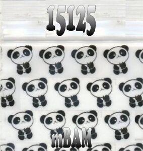 "100 PACK BLK WHITE PANDA BEARS 15125 Apple Ziplock Baggies 1.5X1.25"" PANDAS BAGS"