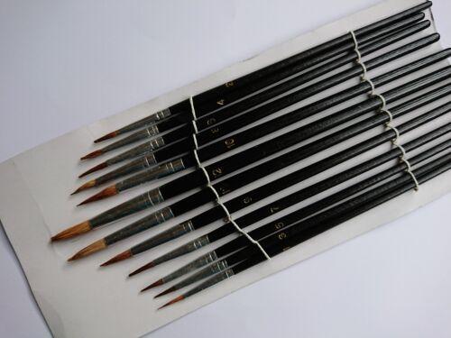 12 x Puntas Artista Cepillo Conjunto Pequeño//Grande Cepillos de pintura artística delgadas//gruesas detallada