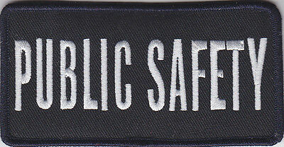 """PUBLIC SAFETY White on Midnight Navy Blue Front Panel Patch 2"""" X 4"""""""