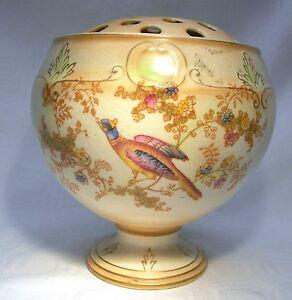 ART-DECO-CROWN-DUCAL-BLUSH-IVORY-EXOTIC-BIRD-PEDESTAL-ROSE-BOWL-TABLE-CENTRE