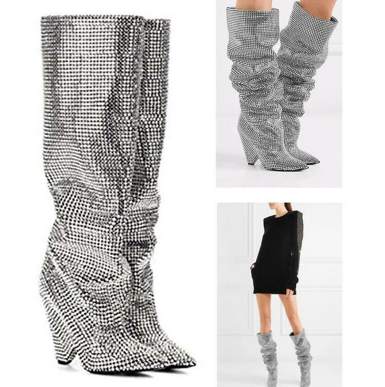 Embellished Rhinestone Crystal Covered 100% Cow leather Knee High Slouch Boots
