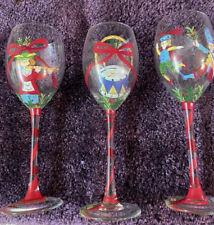 "Set of 4 Block Basics Hand painted 8.5/"" Wine Goblets Glasses /""Vintage Rose/"" EUC"