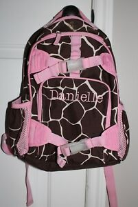 Pottery Barn Kids Giraffe Print Small Backpack Pink Brown
