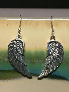 Mexico Sterling Silver Angel with Wings Fishhook Earrings