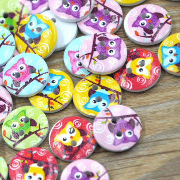 10/50/100/500pc White Print Owl Tower Wood Buttons Clothing Sewing 15 mm WB286