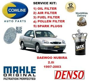 daewoo nubira 2 0 1997 2003 oil air fuel pollen filter spark plugs rh ebay co uk 1999 Daewoo Nubira 2002 Daewoo Nubira