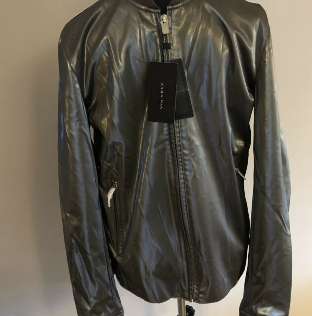 Zara MAN in finta pelle metallica Bomber Giacca Biker Taglia Large BNWT RARE