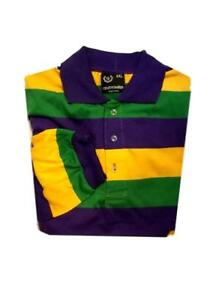 f4b3b6b75 Adult 2X Mardi Gras Stripe Purple Green Yellow Long Sleeve Polo ...