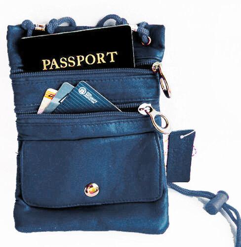 Blue Leather Travel Cross Body Bag Passport Neck Pouch String Purse