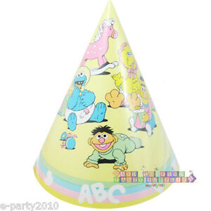 Image Is Loading SESAME STREET PASTEL CONE HATS 6 Vintage 1st
