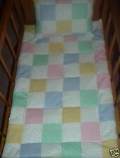 2 Piece Patchwork Doll Bedding Blanket Pillow for Doll Cradle Doll Crib Homemade