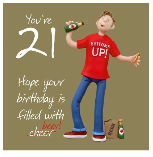 Happy 21st Birthday Card Man His One Lump Or Two Fun Guy