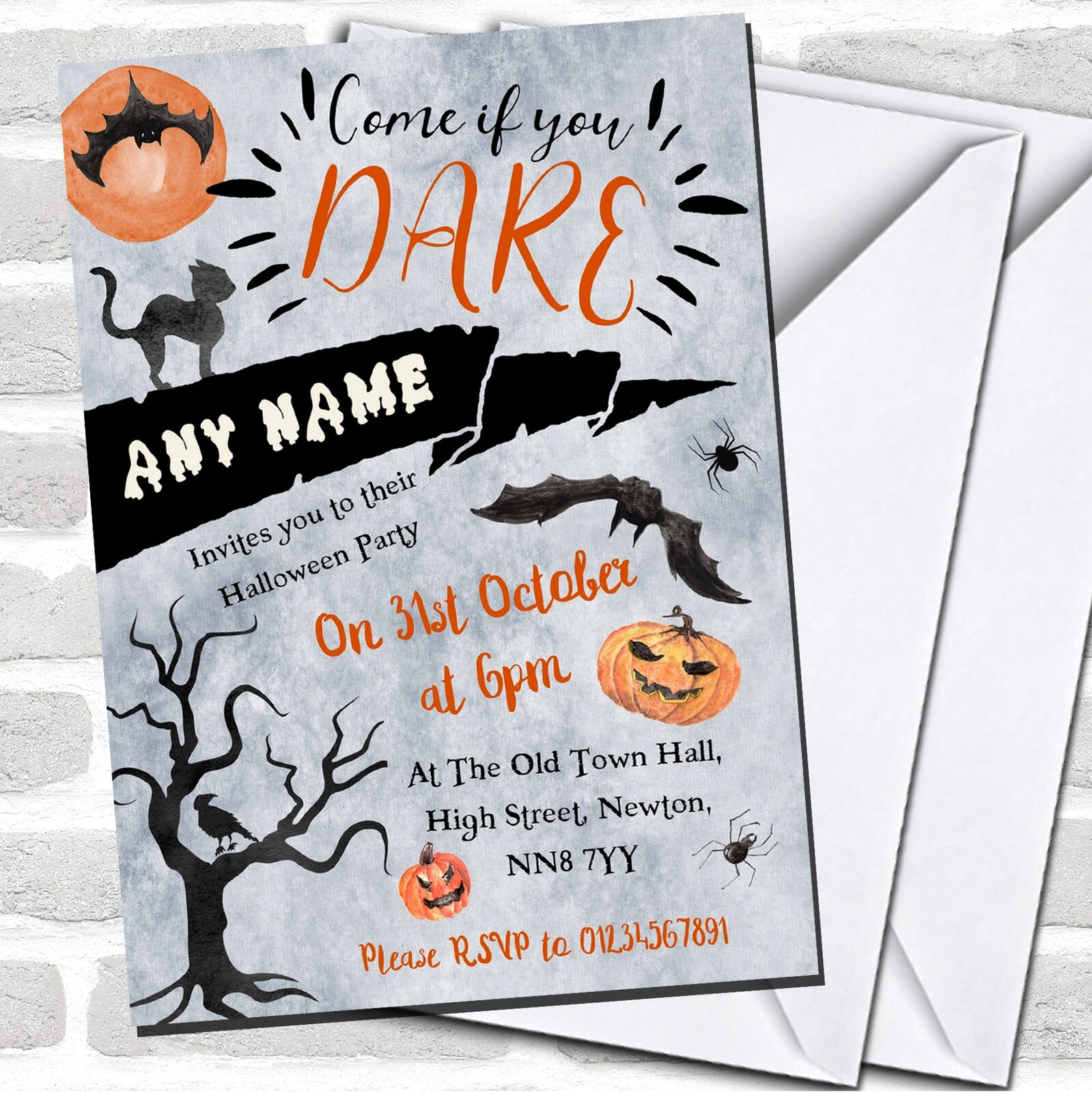 Come If You Dare Scary Night Halloween Party Invitations