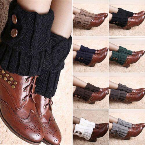 Weiche Frauen-Winter-warme Häkelarbeit-gestrickte Knopf-Stiefel-Socken-Bein