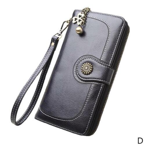 Women Clutch Leather Wallet Long Wallet Women Zipper Band Money Purse Purse D0O8