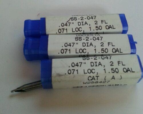 "Robb Jack .047/"" Diameter Solid Carbide 2 Flute End Mills 3 Qty"