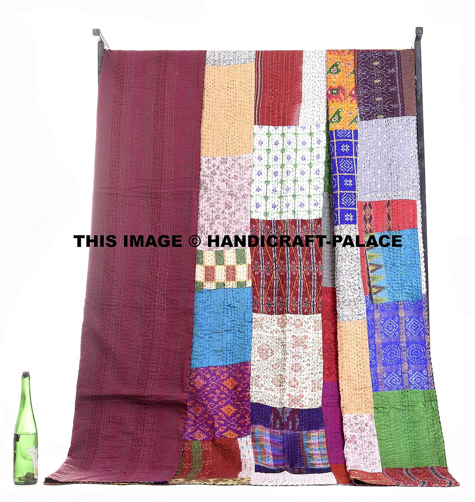 Indian Queen Kantha Quilt Patola Silk Saree Patchwork Bedspread Throw Reversible