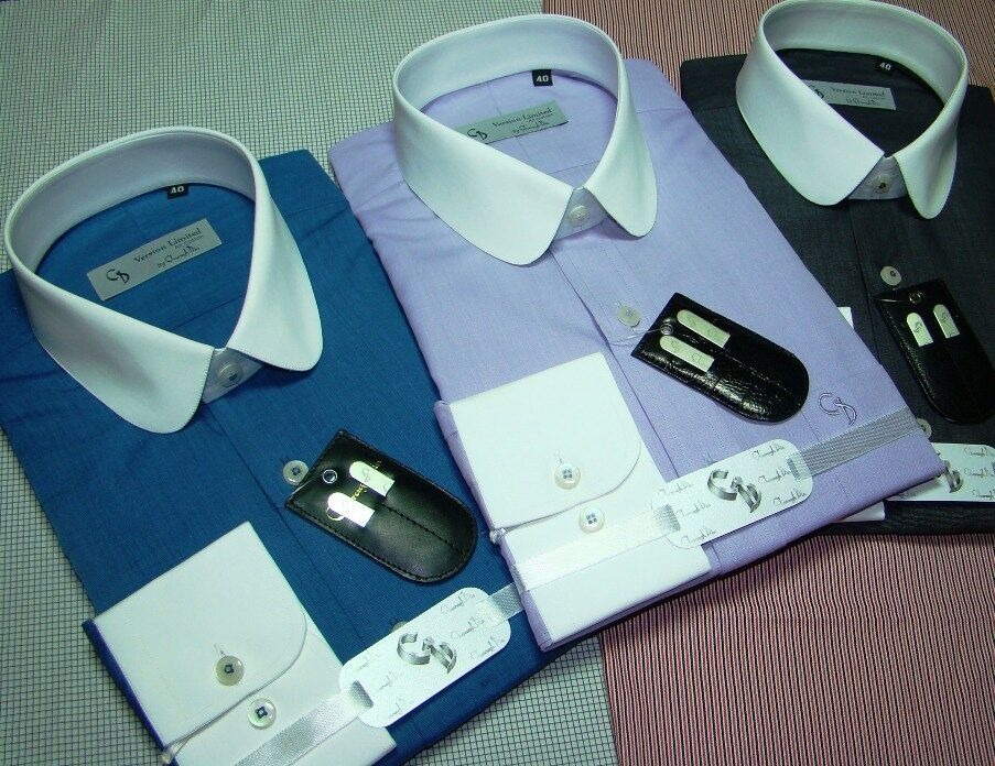 Round Collar Banker Cotton Shamre shirt Round Club collar Cufflinks for Gents
