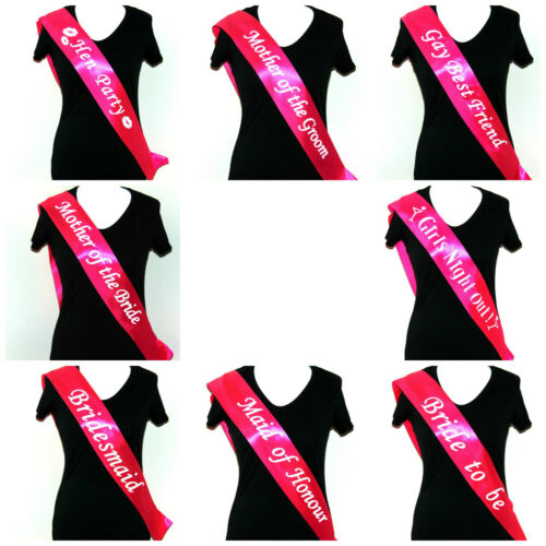 Bride to Be Sashes Pink Hen Party Night Sash Accessories Bridesmaid Wedding ML