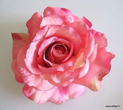 "Full 5"" Pink Cream Silk Rose Brooch Pin,Corsage,Bridal,Hat,Romantic"