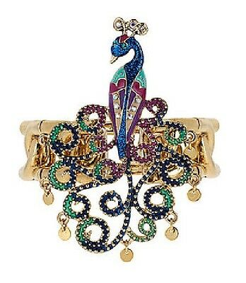 B242  BETSEY JOHNSON Exquisite Peacock Gemstone Bangle Bracelet  US