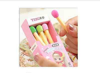 3 x Novelty Cute Matches Style Eraser Rubber Stationery Kid Gift Sweet UK