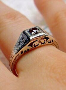 U.S. SELLER-Gift Wrap Wedding Art Deco Garnet CZ Sterling Silver Filigree Ring