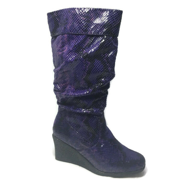 Curations HSN Stefani Greenfield Purple Snakeskin Look Scrunch Wedge Stiefel 7 M