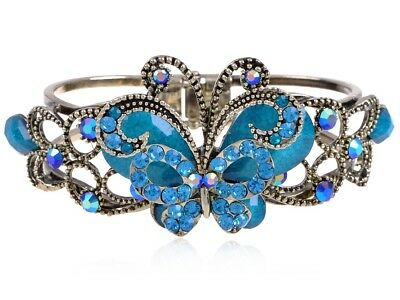 Vintage Aquamarine Ocean Crystal Rhinestone Butterfly Bangle Bracelet Cuff Gift | eBay