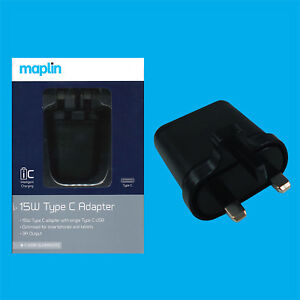 Maplin-15W-Type-C-USB-Portable-Adapter-Charger-Port-for-Smartphones-and-Tablets