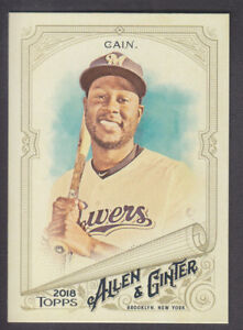 Topps-Allen-amp-Ginter-2018-Base-SP-336-Lorenzo-Cain-Milwaukee-Brewers
