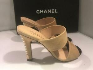 7d7b77c75cdc Image is loading CHANEL-17A-Suede-Pearl-Embellished-Heels-Mules-Sandals-