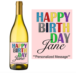 happy birthday wine label sticker personalized customized party gift