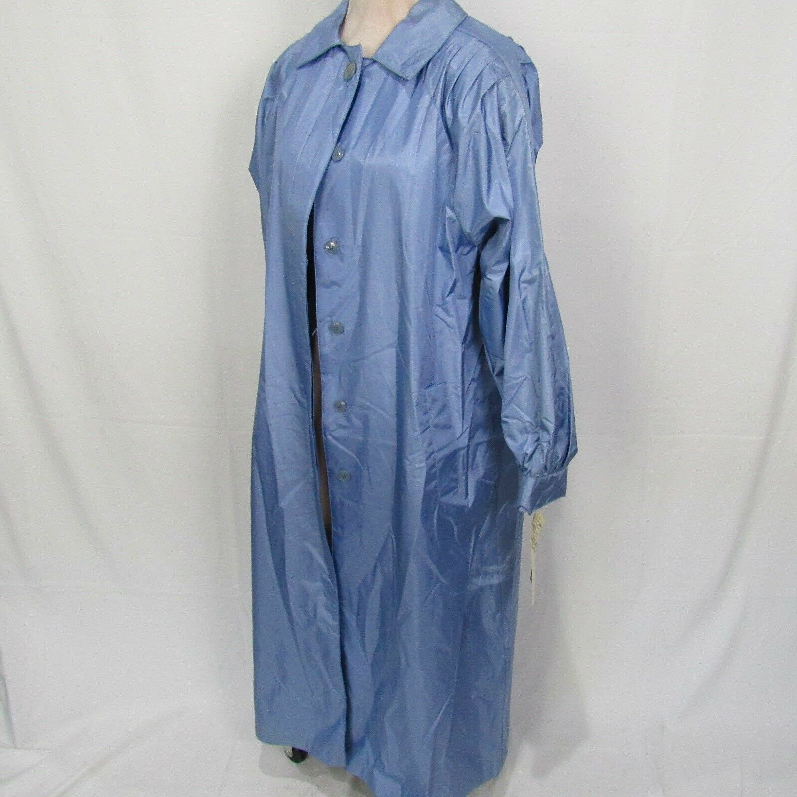 NWT Vintage Women's Elco bluee Trench Button Front Collared Rain Coat Size 12