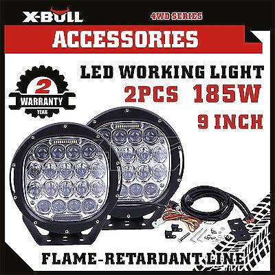 X-BULL Pair 185W CREE LED Driving Light Offroad Spotlight Black Round HID Bar