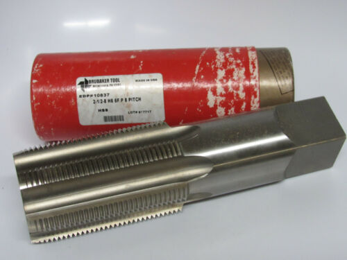 new BRUBAKER TOOL 2-1//2-8 Pitch H6 6FL PLUG 6 Flutes HSS Hand Tap USA 10837