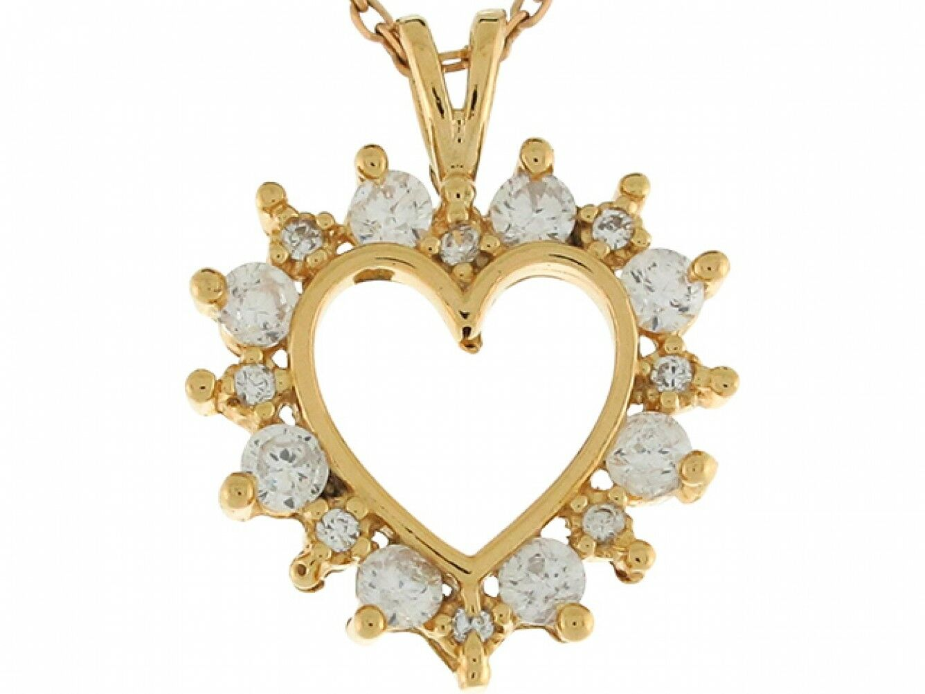 10k Yellow gold White CZ Cluster 2.0cm Darling Floating Heart Pendant