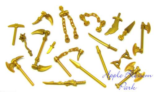 NEW Lego Ninjago Ninja Minifig GOLD WEAPON SET w//Golden Minifigure Dragon Sword