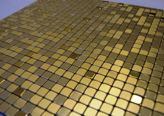 FlexiPixTile-Aluminum Peel & Stick Mosaic Tile Kitchen Backsplash - GOLDEN CROWN